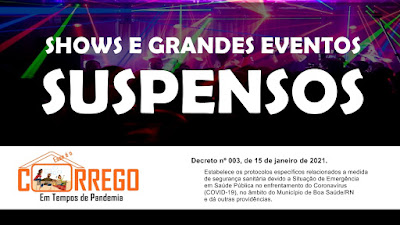 Decreto suspende shows e grandes eventos