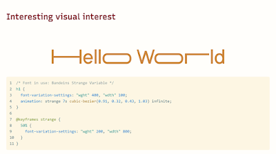 Slide: exaggerated Hello World of various variable font effects