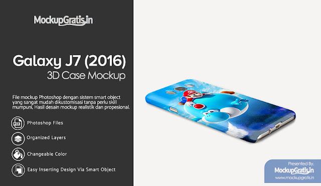 PSD Mockup Custom Case 3D Samsung Galaxy J7 (2016) Gratis