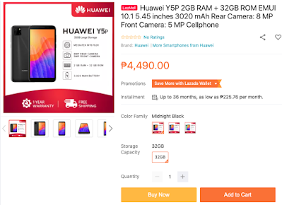 Huawei Y5p Available