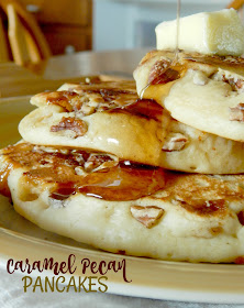 Caramel Pecan Pancakes...we love caramel pecan sticky buns, why not combine that into a pancake!  Sweet, salty and delicious! (sweetandsavoryfood.com)