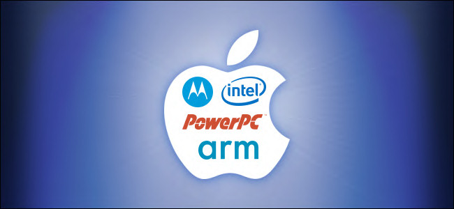 شعار Apple به شعارات لبنية وحدة المعالجة المركزية Motorola و PowerPC و Intel و Arm.