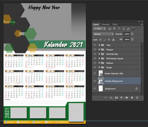Desain Kalender Dinding 2021 Free PSD