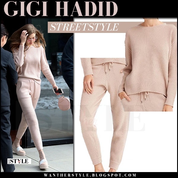 Gigi Hadid in pink knit sweater and pink knit sweatpants what she wore march 2017
