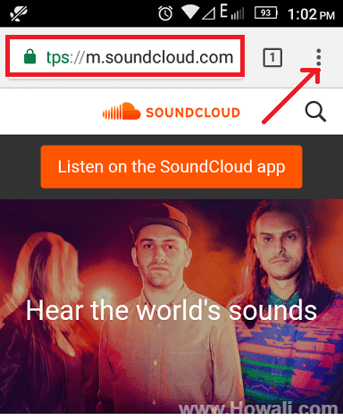 how to open soundcloud desktop site on android