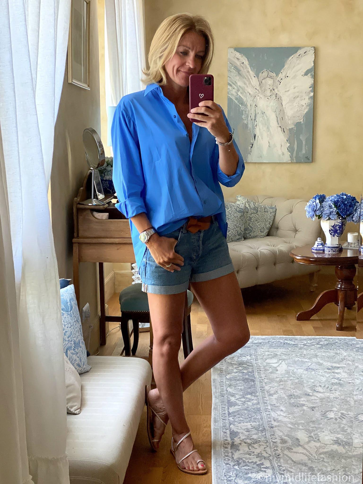 my midlife fashion, Massimo Dutti oversized shirt, h and m boyfriend denim shorts, Isabel marant etoile lecce belt, speak out Chris braided gold classic sandals