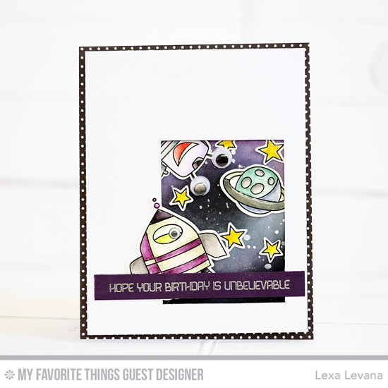 Handmade card from Lexa Levana featuring Out of This World stamp set and Die-namics #mftstamps