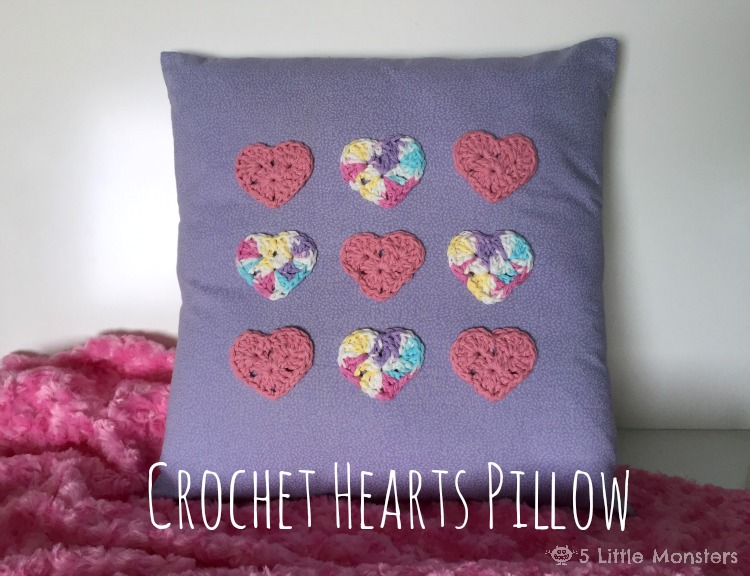 Crochet Hearts Pillow