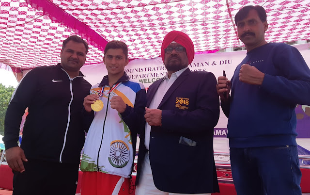 Dronacharya Boxing Club's Rahul Fogat won the gold medal in the National School Boxing Competition