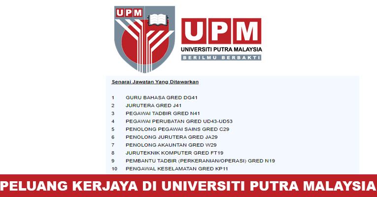 Kekosongan Terkini di Universiti Putra Malaysia (UPM)