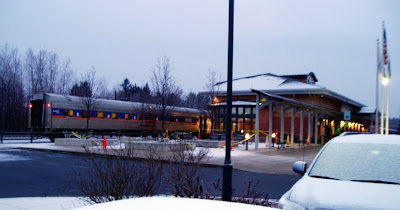 The Gore Mountain Snow Train at the Saratoga Springs train station early Saturday morning, Feb. 12.   The Saratoga Skier and Hiker, first-hand accounts of adventures in the Adirondacks and beyond, and Gore Mountain ski blog.