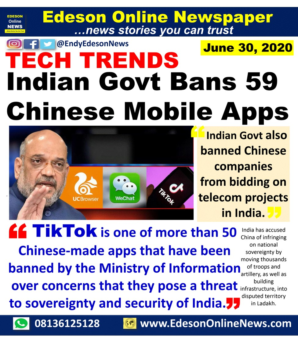 Edeson Online Newspaper India Bans 59 Chinese Mobile Apps