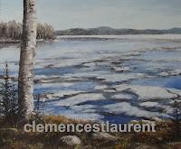 Un 3 mai, en avant de notre chalet à Montbeillard, huile 20 x 24, 1974, par Clémence St-Laurent - glaces flottant sur le lac
