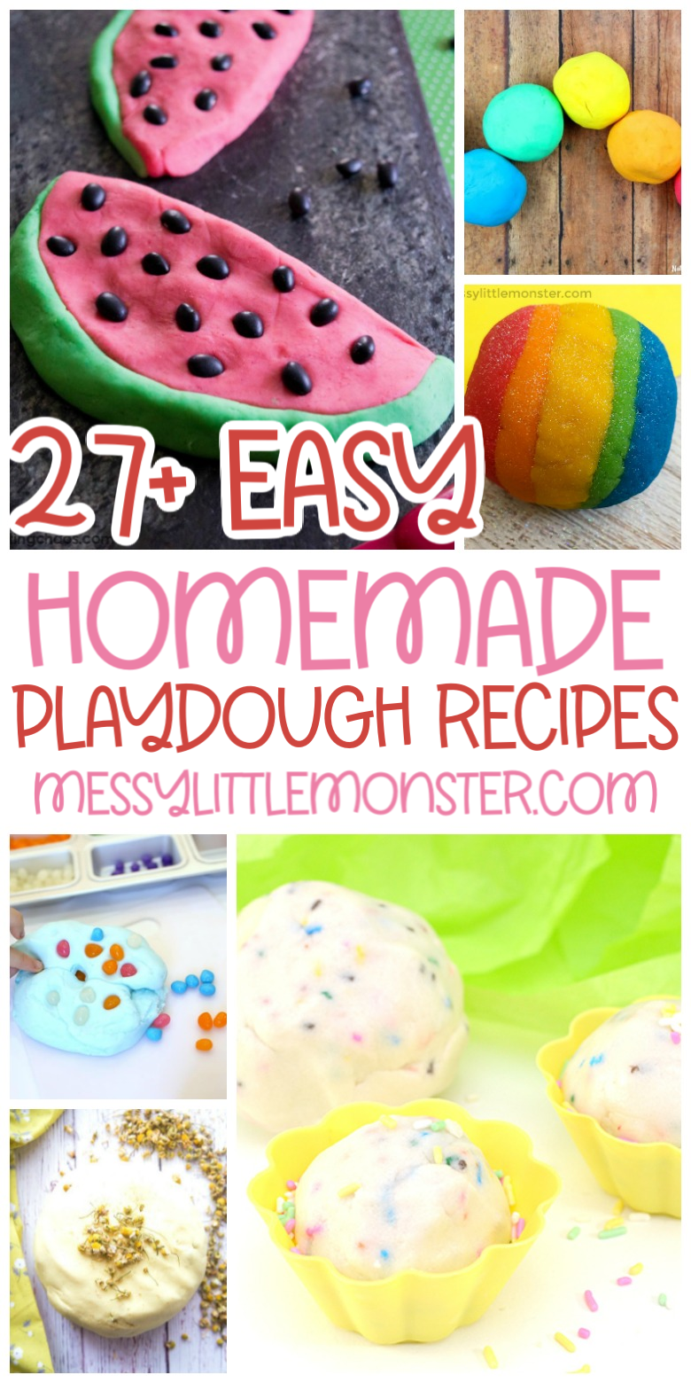Easy homemade playdough recipes. No cook playdough, cooked playdough, edible playdough.