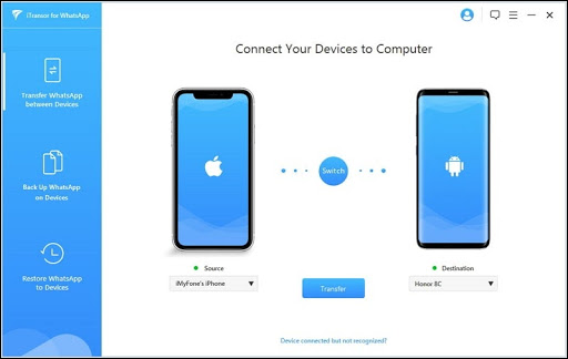 iTransor لشاشة اتصال WhatsApp