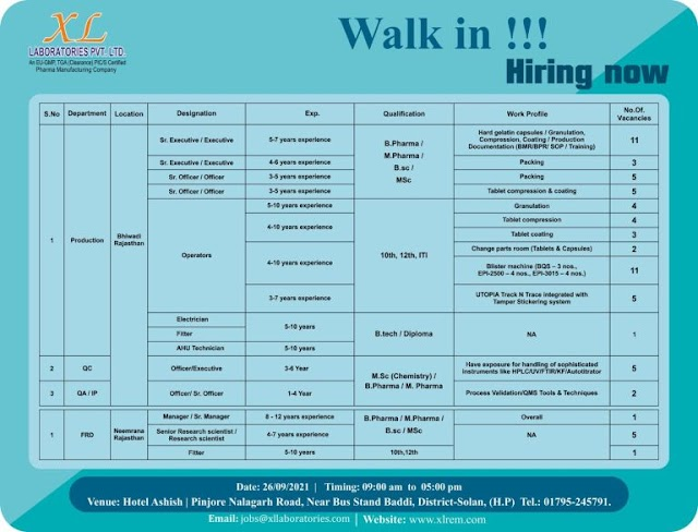 XL Laboratories | Walk-in for Production/QC/QA/FR&D on 26th Sept 2021