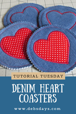 Homemade Denim Heart Drink Coasters Sewing Project