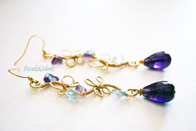 Orecchini farfalle viola