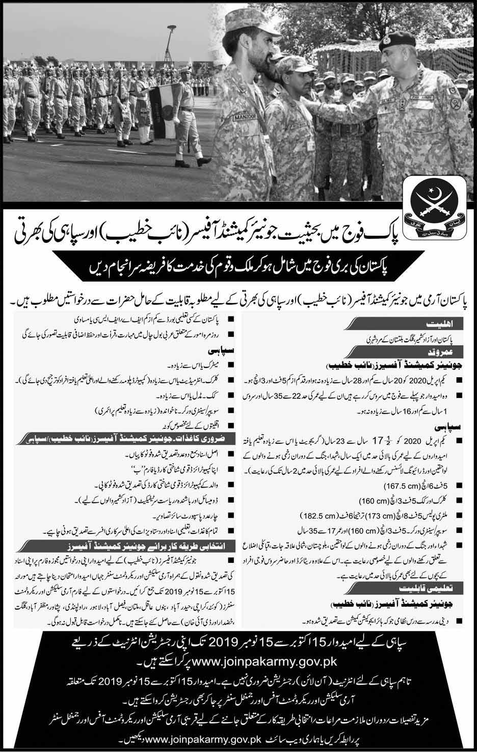 Join Pakistan as Naib Khateeb Commissioned Officer Oct 2019