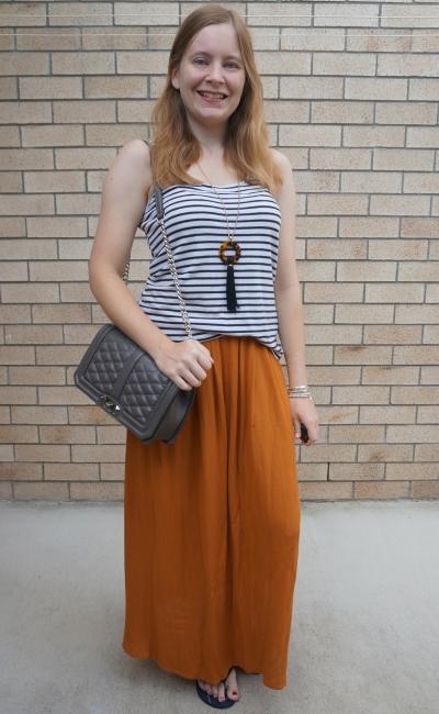 navy white stripe tank with ochre maxi skirt grey rebecca minkoff love crossbody bag | awayfromblue