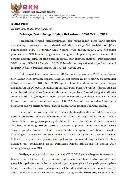 SIARAN PERS PENDAFTARAN CPNS TAHUN 2019