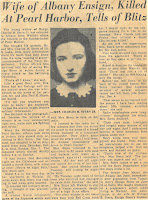 Newspaper article relating Joan Mayer Stern's experience during the attack on Pearl Harbor