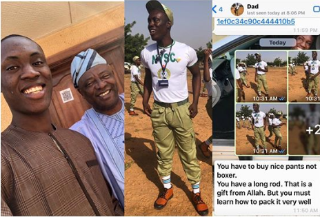 """Buy Nice Pant Not Boxer, You Have a Long Rod"" - Nigerian Dad Reacts to son's NYSC Picture"