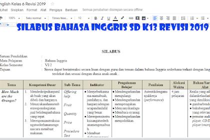 Unduh Silabus Bahasa Inggris SD K13 Revisi 2019 untuk Kelas 1, 2, 3, 4, 5, 6 semester I dan II