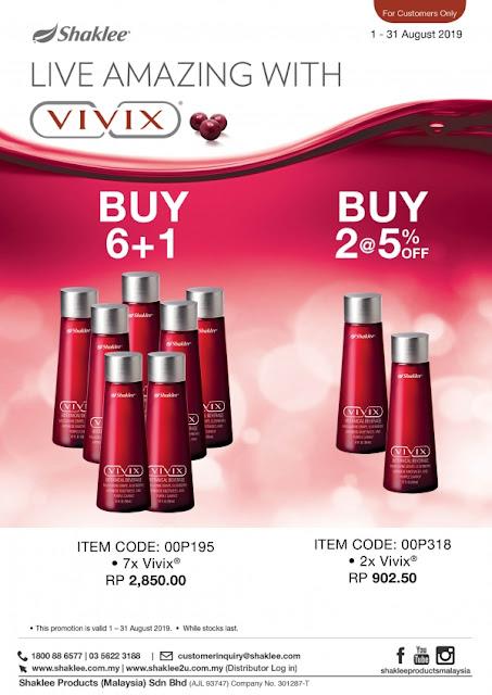 Beli 6 botol percuma 1 botol, vivix murah