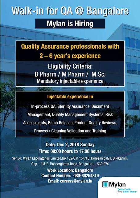 Mylan Laboratories Walk In for Quality Assurance - B.Pharm, M.Pharm, M.Sc at 2 December