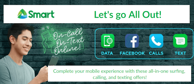 List of Smart All Out Surf Promos: Data, Calls and Texts Combo