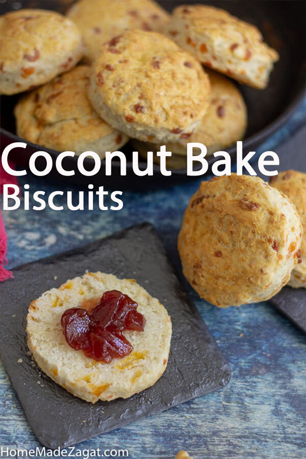 A combination of coconut bake and biscuits. This coconut bake cheese biscuits union has the base of our traditional roast coconut bake recipe and cheese biscuits. It's the perfect breakfast sandwich holder or just eat it plain.