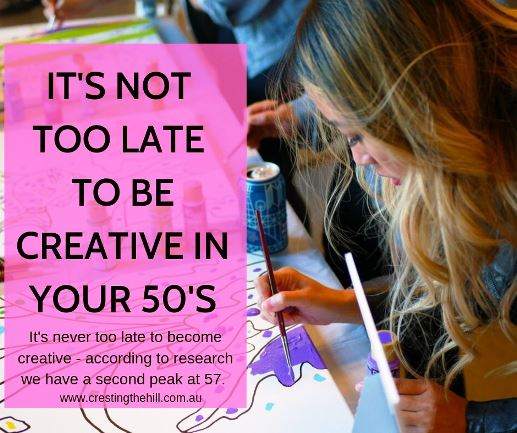 It's never too late to become creative - according to research we have a second peak at 57. What are you doing to make the most of your second wind? #creativity
