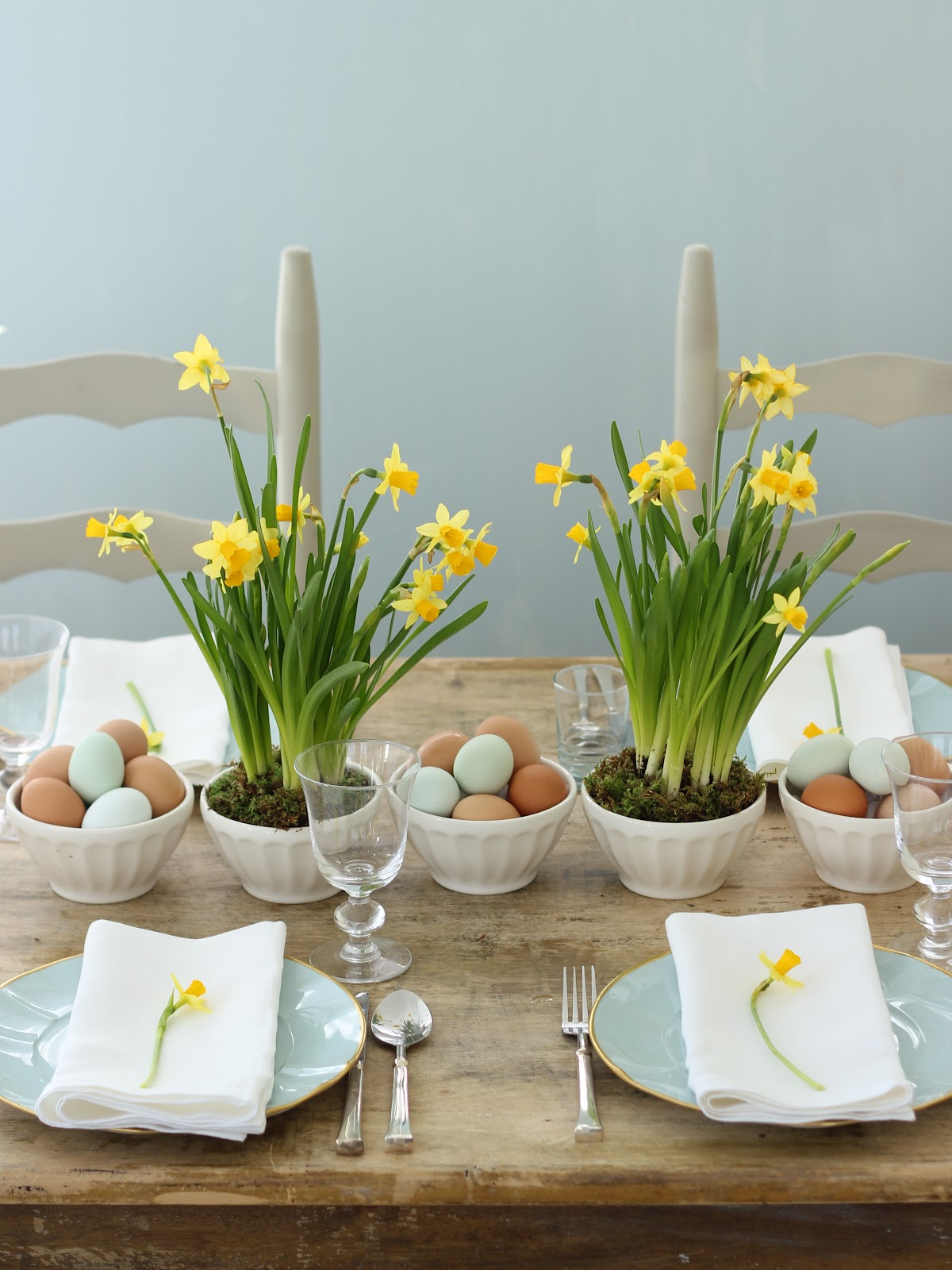 Jenny Steffens Hobick Spring  Easter Centerpieces  Yellow Daffodils  Blue Eggs