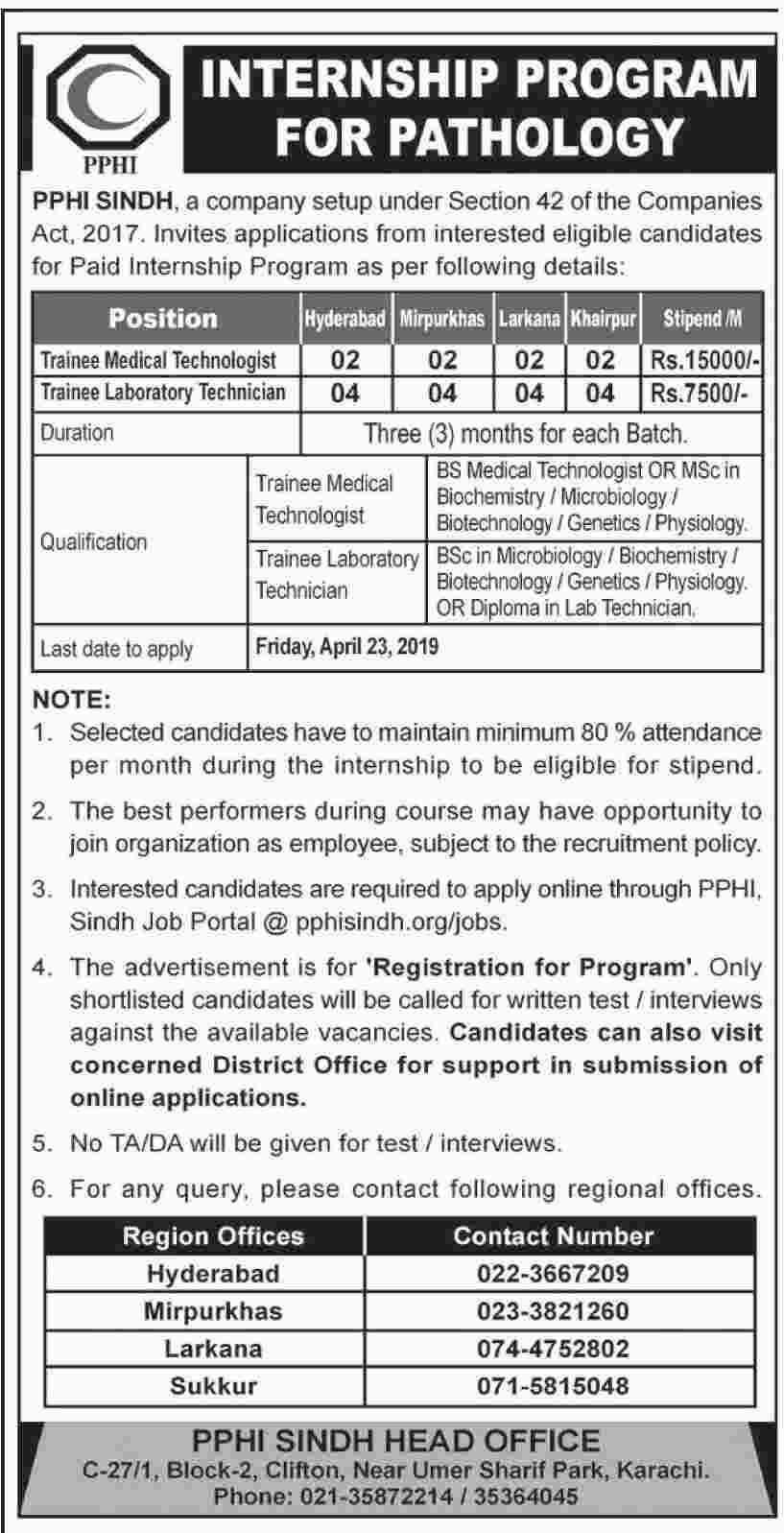 newpakjobs PPHI Internship Program for Pathology April 2019