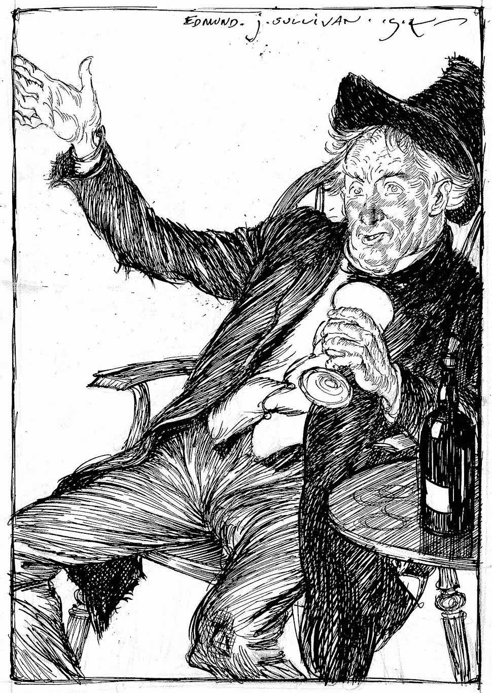 a 1914 Edmund J. Sullivan illustration of a foolish drunk's loud opinion