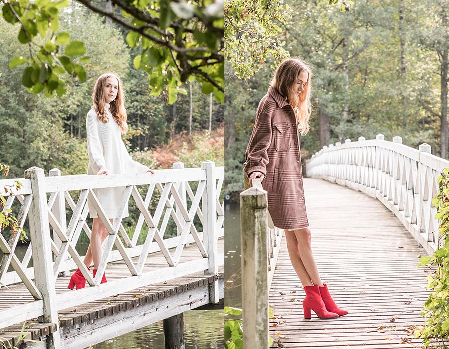 Syksyn pukeutuminen: ruskea ruututakki, neulemekko ja nilkkurit // Autumn dressing: brown checked coat, jumper dress and ankle boots