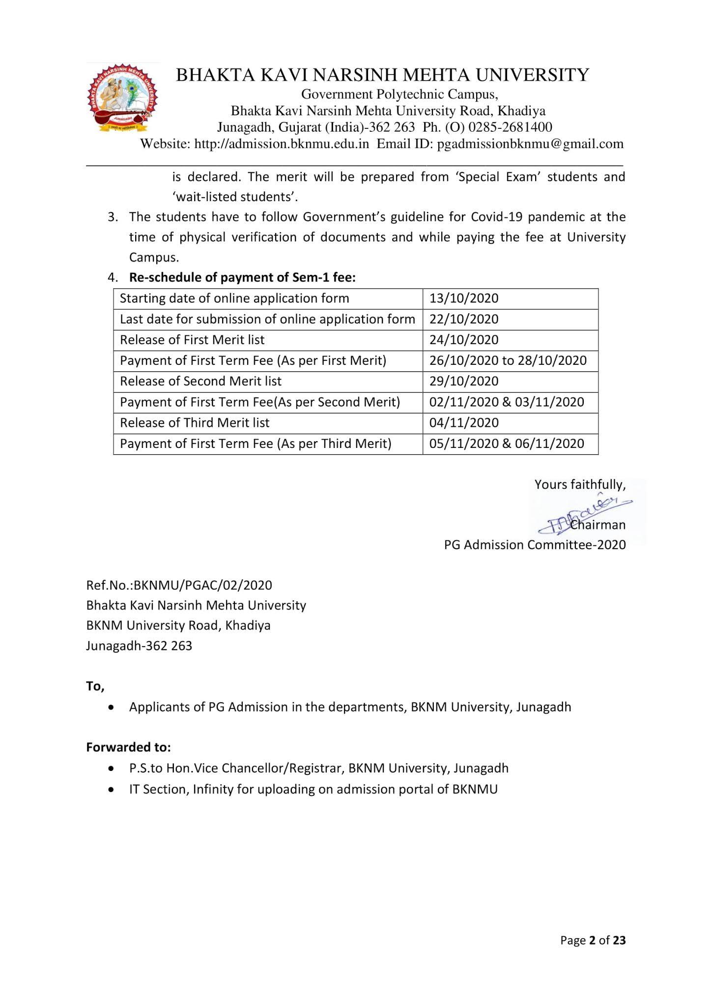Bknmu Ma Msc Mcom Provisional Merit List 24 10 2020 Bhakta Kavi Narsinh Mehta University Admissions 2020 2021 Mr Kawant