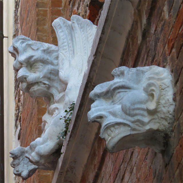 Sculptures on the facade of the Santa Margherita Auditorium, Calle de la Chiesa, Dorsoduro, Venice