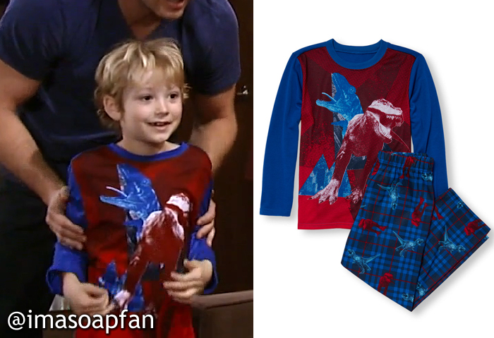 Danny Morgan, TK Weaver, Blue and Red Dinosaur Print Pajamas, The Children's Place, GH, General Hospital