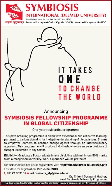 Symbiosis Fellowship Programme in Global Citizenship