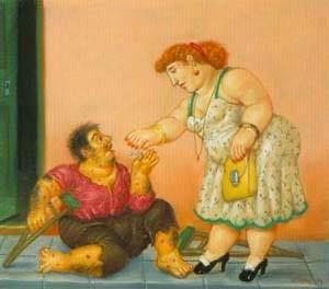 Caridade - Fernando Botero e suas pinturas ~ O pintor das figuras volumosas