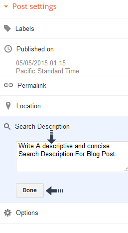 write search description