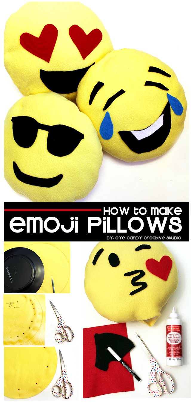 DIY emoji pillows, emoji birthday party, emoji sleepover, emoji craft idea