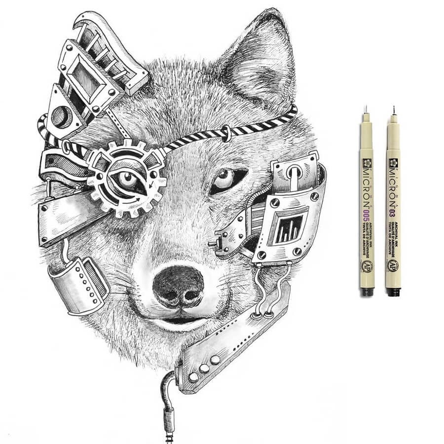 12-Wolf-Steampunk-Steve-Turner-www-designstack-co