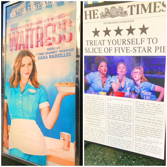 Waitress poster and Waitress review outside the theatre