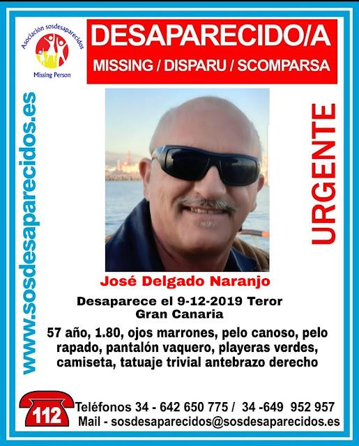 José Delgado Naranjo. Desaparecido Teror Gran Canaria