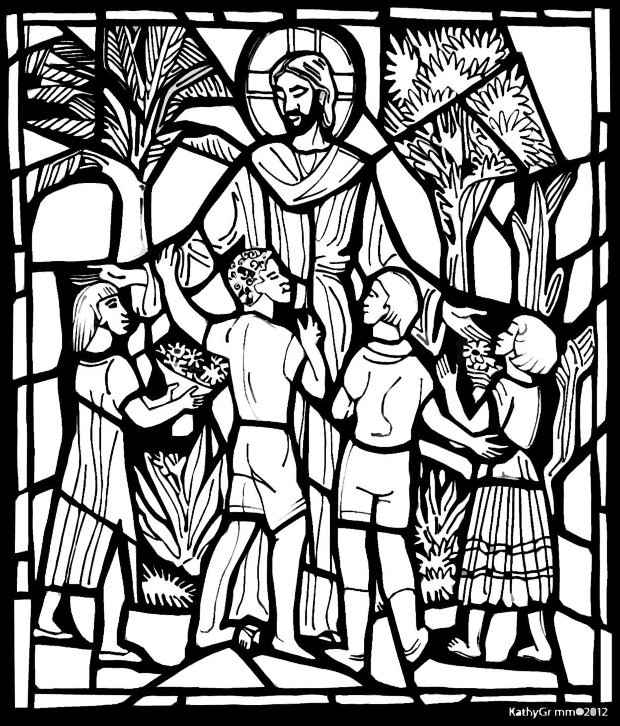 christion stain glass coloring pages | Jesus and The Children | Color The Bible