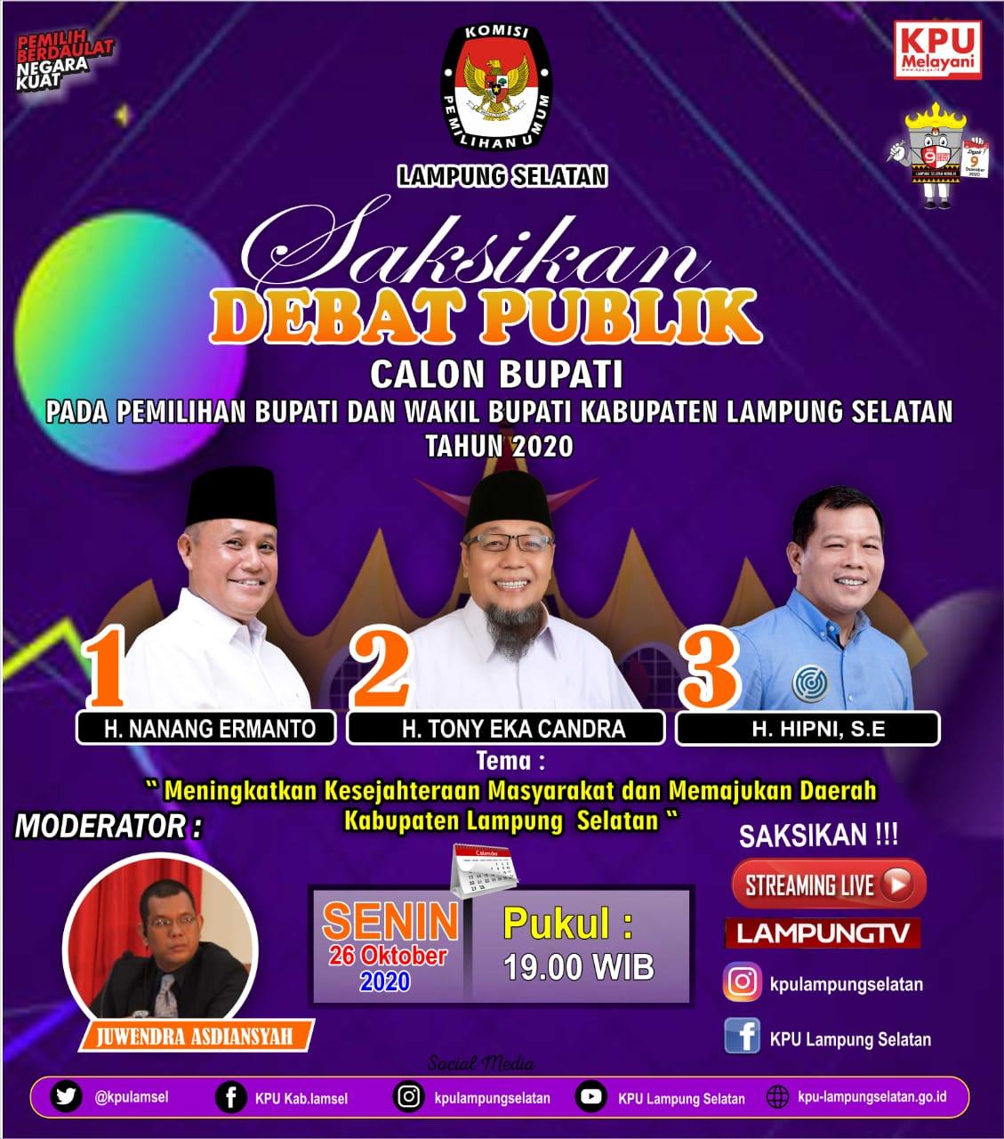 Tiga Calon Bupati Lampung Selatan Ikuti Debat yang Diadakan KPU