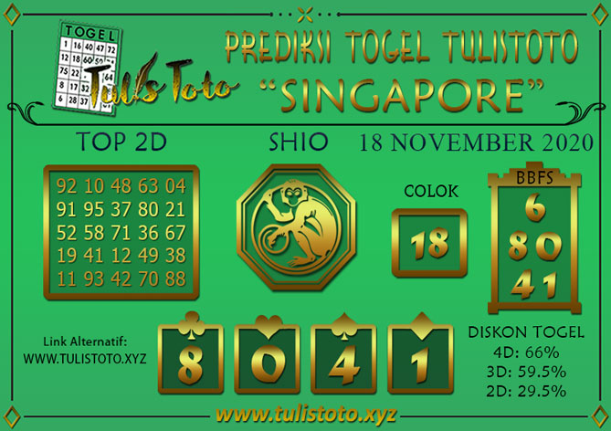 Prediksi Togel SINGAPORE TULISTOTO 18 NOVEMBER 2020